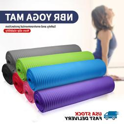"""10MM Thick Durable Exercise Yoga Mat 70"""" Long Sport Fitnes"""