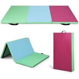 "2"" Thick 4-Fold Gymnastics Mat Compact Multiple Exercise Pil"