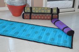 Hand Block-Printed Non-Slip Quilted Yoga Mat--Turquoise