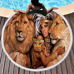 Hot!! Beautiful African Woman With Lions Towel Circle Yoga M