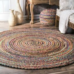 Indian Cotton and Jute Multi Color Round Floor Rug Yoga Mat