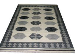 Kilim Rugs 5'x7' Size Beige Color Area Rug Floral Dhurrie In