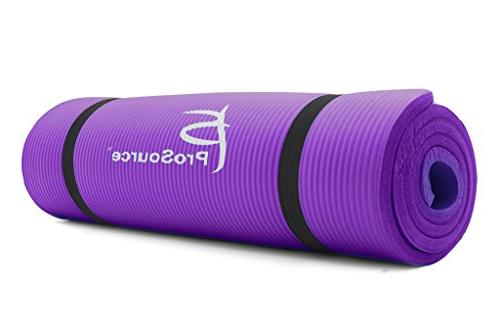 Prosource Premium 1/2-Inch Thick 71-Inch Long Density Yoga Mat with Carrying Straps, Purple, Packaging