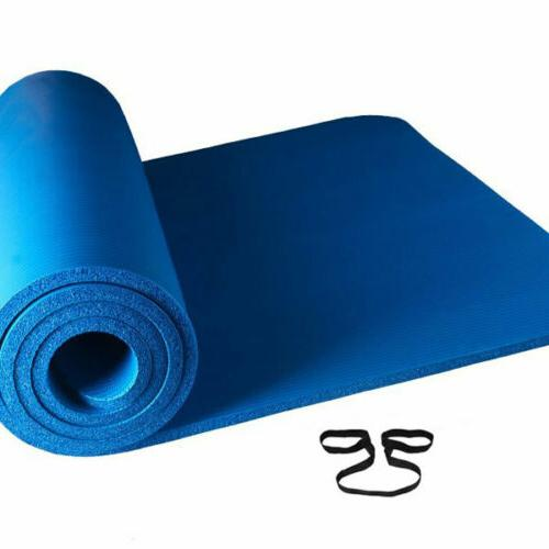 Extra Thick Non-slip Mat Pad Exercise Fitness Pilates Exercise Mat w/ Strap