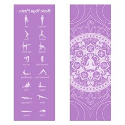 Lilac Premium Printed Yoga Mat with Poses On One Side Design