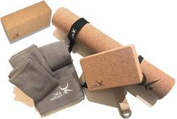 Natural Cork Yoga Set Starter Kit 8 Pieces Equipment Include