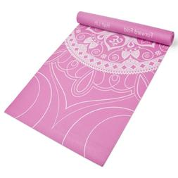 Pink Printed Design Yoga Mat with Poses Printed on One Side