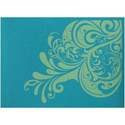 Renew Yoga Mat Floral Design Teal Color 6mm Thick with Micro