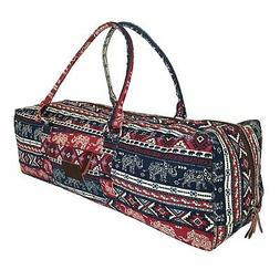 Yoga Mat Duffle Bag Patterned Canvas with Pocket and Zipper,